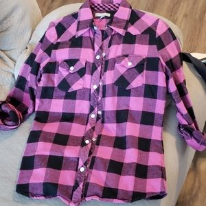 Delia's pink and black flannel